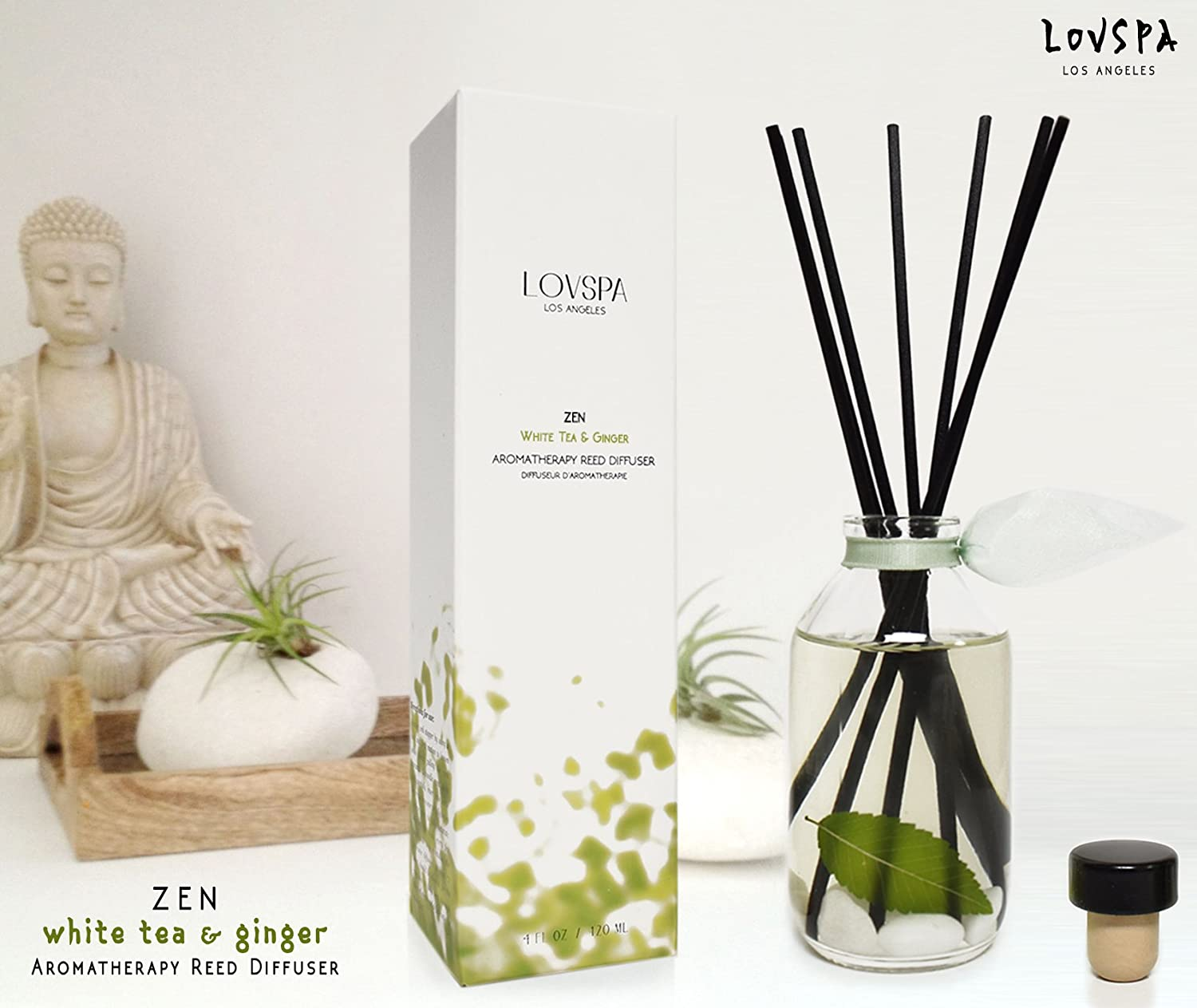 LOVSPA Zen White Tea and Ginger Aromatherapy Reed Diffuser - Tranquil & Serene - with Citrus, Peony, Lavender, Geranium, Sandalwood & Musk - Best Gift Idea! Vegan. Made in The USA