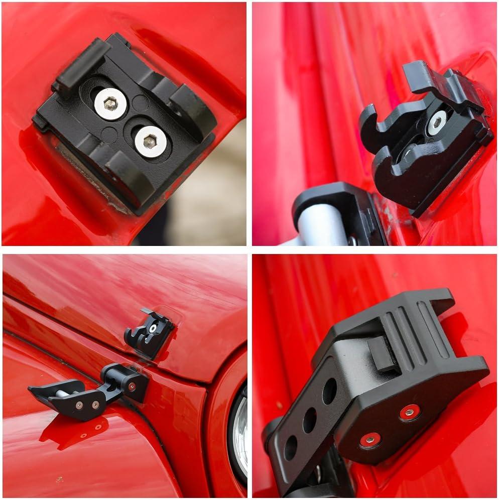 Voodonala Black Aluminum Hood Latches Hood Lock Catch for 2007-2018 Jeep Wrangler JK JKU