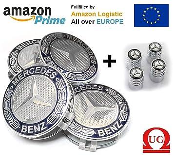 4 tapones de 75 mm para llantas tapacubos con el logotipo de Mercedes, clase A, B, C, E, CLA, CLK: Amazon.es: Coche y moto