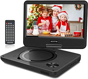 "WONNIE 11"" Kids Portable DVD Player for Car, with 9"" Swivel Screen, Rechargeable Battery, Remote Control, USB / SD Card Reader, Region Free (Black)"
