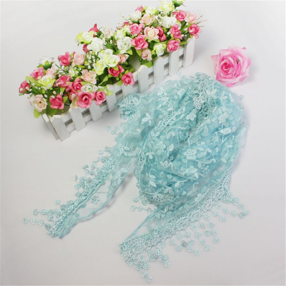Delicate Light Weight Lace Womens Elegant Infinity Scarf with Teardrop Tassel Fringes Wraps (Blue) by Amacok (Image #2)