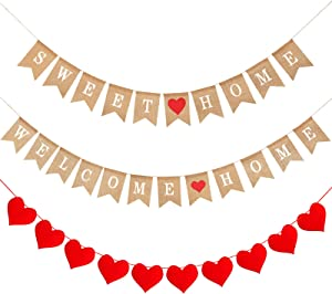 3 Pieces Welcome Home Banner Burlap Sweet Home Burlap Banner Felt Heart Garland Banner Rustic Bunting Garland for Home Party Sign Decoration Home Warming Decorations