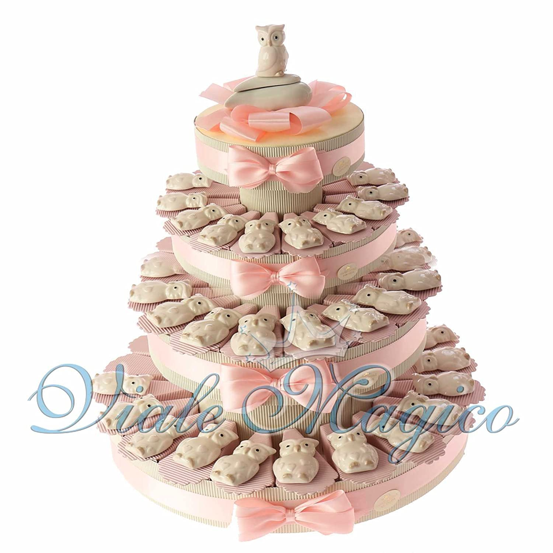 Bomboniere Nascita Battesimo Primo Compleanno Torta con Magnete Gufetti Bimba in Porcellana (60 Pezzi)