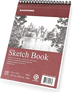 """Bachmore Sketchpad 9X12"""" Inch (68lb/100g), 100 Sheets of TOP Spiral Bound Sketch Book for Artist Pro & Amateurs   Marker Art, Colored Pencil, Charcoal for Sketching"""