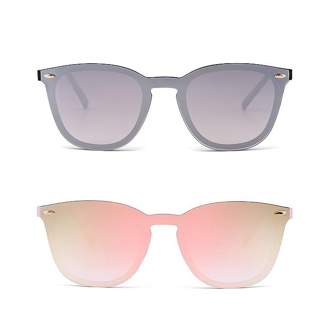 Sin Marco Borde Gafas de Sol Una Pieza de Espejo Reflexivo Anteojos Para Mujer Hombre