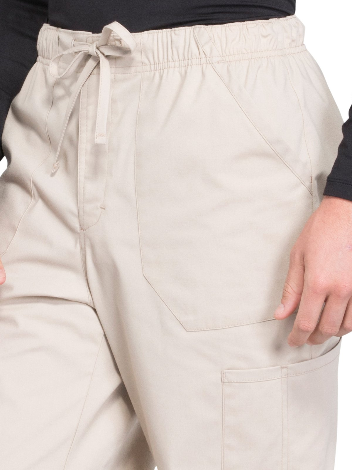 Cherokee WW Professionals WW190 Men's Tapered Leg Drawstring Cargo Pant Khaki XL Short by Cherokee (Image #3)