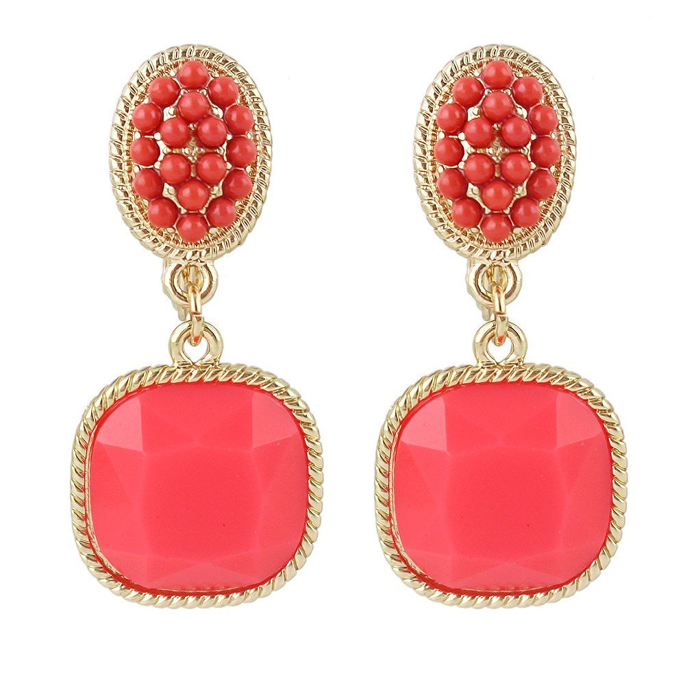 Feelontop® Fashion Style 5 Colors Imitation Gemstone Drop Earrings with Jewelry Pouch ER-3770-BLUE