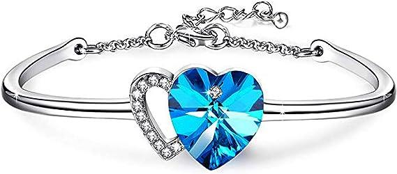 Angelady Bracelet Coeur Bleu pour Femme Bracelet Jonc Femme avec ...