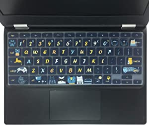 "SANFORIN Silicon Keyboard Cover Fit 2019/2018 Lenovo Chromebook C330 11.6""/Chromebook Flex 11 /Chromebook N20 N21 N22 N23 100e 300e 500e 11.6""/Chromebook N42 N42-20 14 inch, Cat"