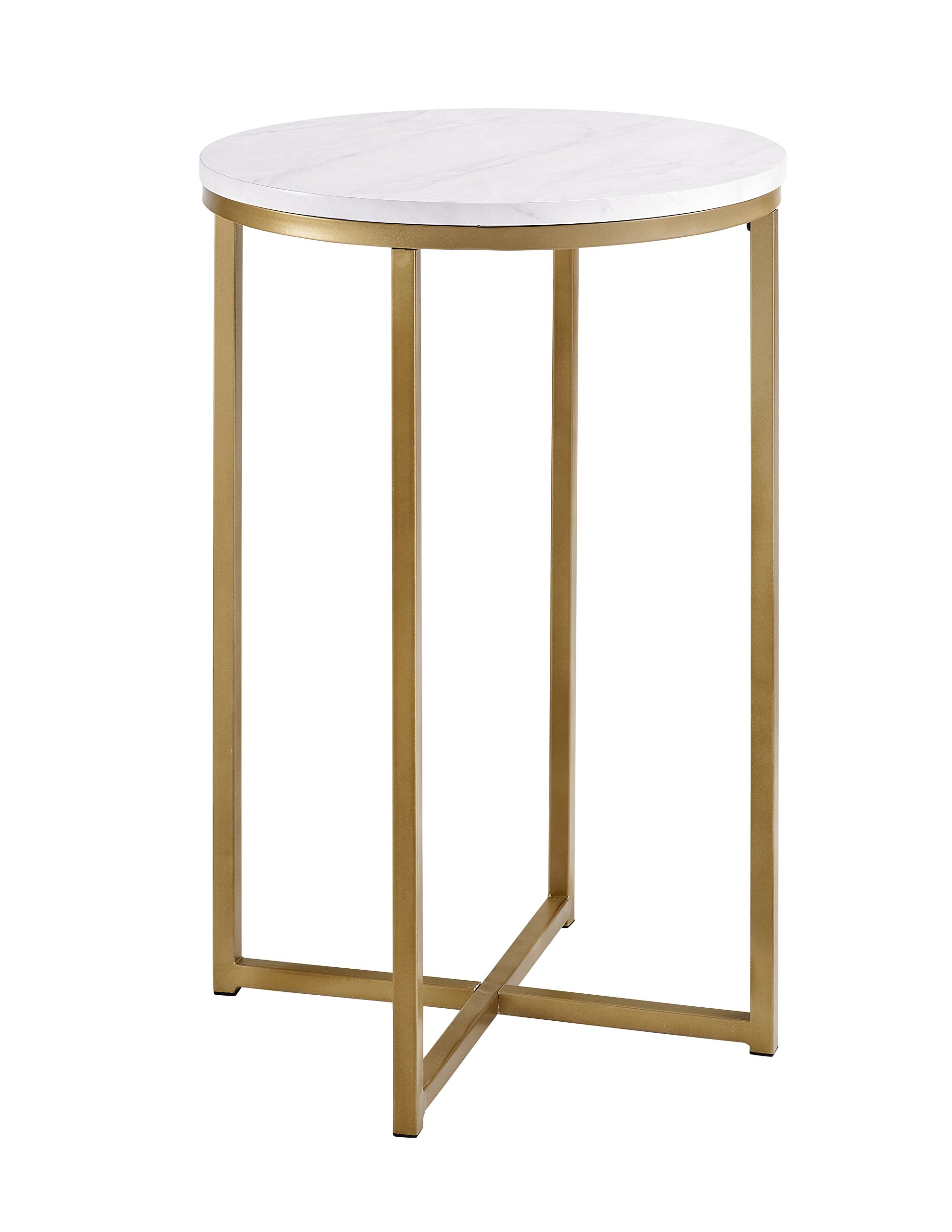 We Furniture AZF16ALSTMGD Modern Round Side End Table, Faux Marble/Gold by WE Furniture