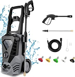 Electric Pressure Washer 3500 PSI Max 2.6GPM 1800W High Power Washer with 5 Nozzles Adjustable, 32ft Cable, Detergent Tank, Spray Gun, Pressure Washer Gray for Car/Garden/Home/Driveways [US Stock]