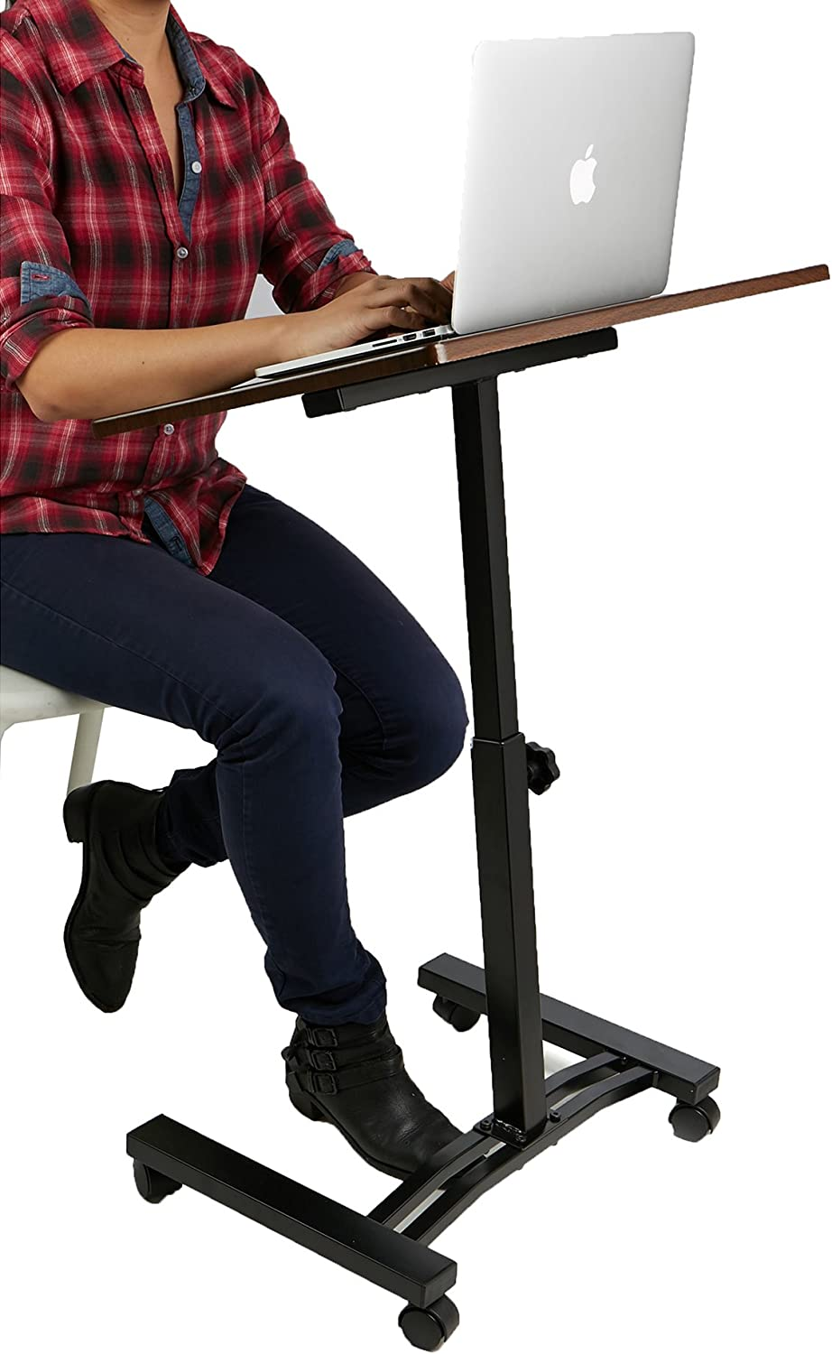 Mind Reader Sit and Stand Laptop Cart, Lap Desk, Adjustable, Black