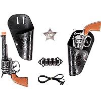 Alsino Kit Cow-Boy Set Cowboy 8823 Accessoires de déguisement en Plastique et PVC pour Ambiance Western idée Cadeau Noel Anniversaire garçon Enfant 2 x Pistolet Revolver et Son Holster Badge étoile