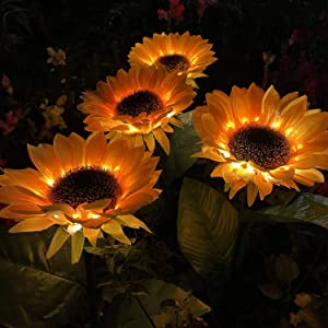 2 Packs Solar Garden Lights, Sunflower Garden Decorative Lighting Solar Led Outdoor Lights, Solar Pathway Lights for Garden, Courtyard, Patio, Front Yard, Backyard, Balcony, Entryway