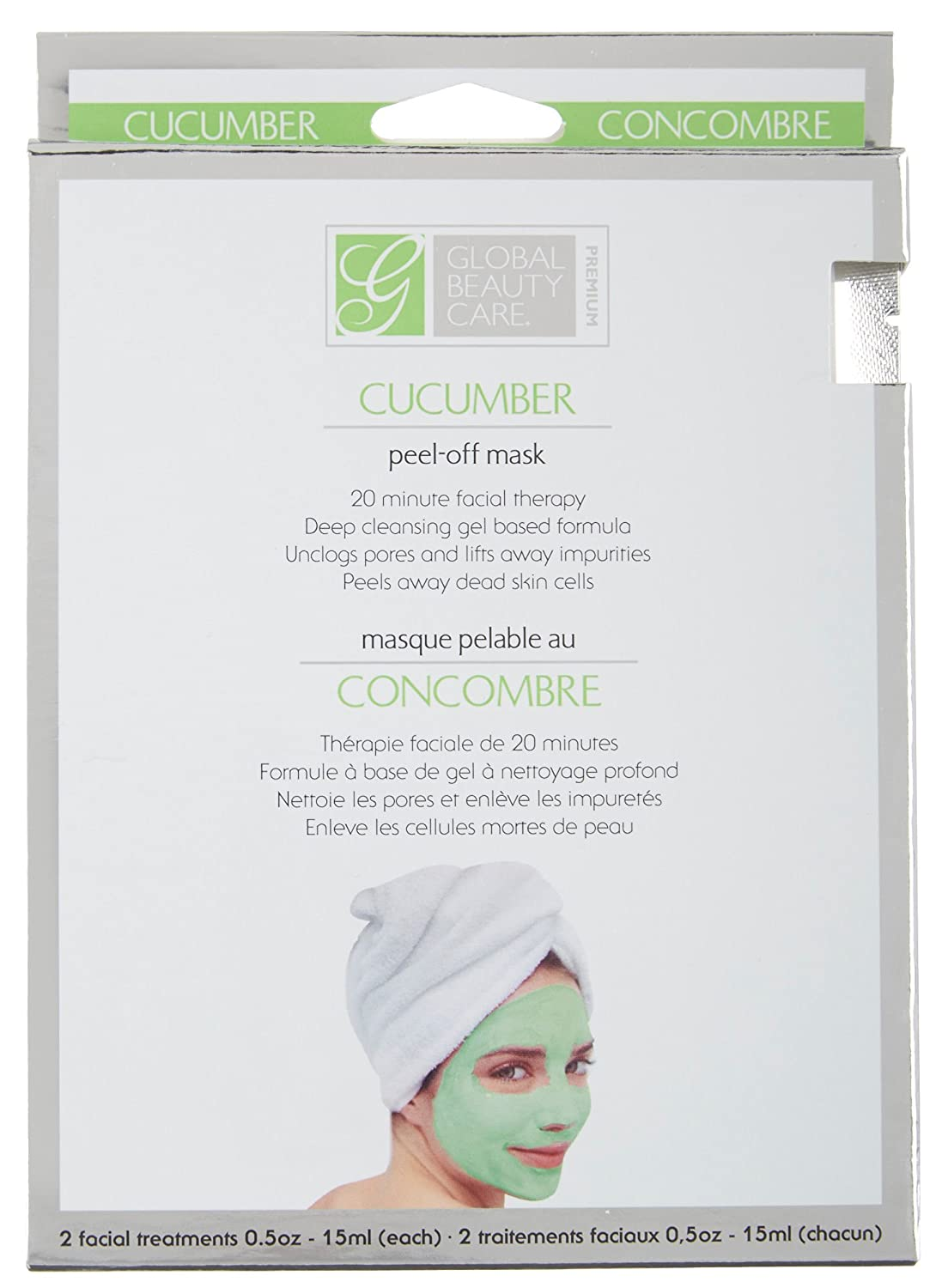 Global Beauty Care Premium Cucumber Peel Off Mask 20 Minute Facial Therapy Contains 2 Facial Treatments
