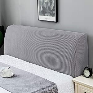 TOPCHANCES Bed Headboard Cover Slipcover,Stretch Solid Color Bed Headboard Slipcover Protector Dustproof Bed Head Cover for Bedroom Decor (Light Grey, Full 59