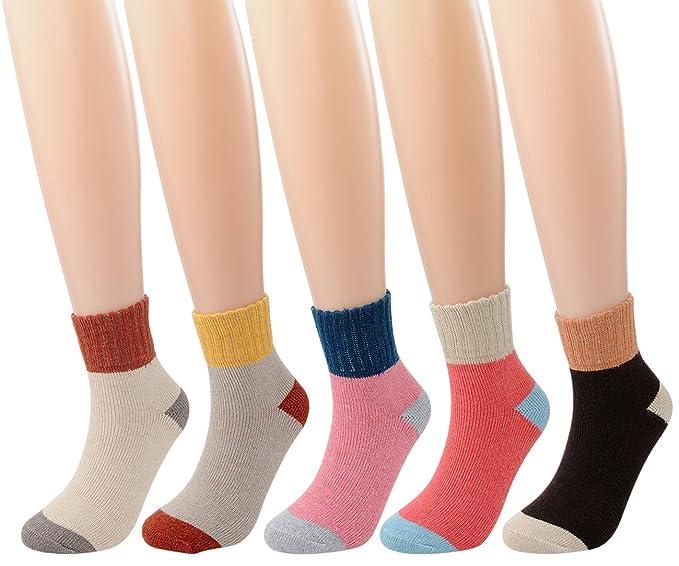 FULIER Mujer Calcetines Calcetines térmicos de lana de invierno cálido casual de 5 unidades UK 4