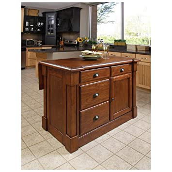 Home Styles 5520 94 Aspen Kitchen Island Rustic Cherry Finish