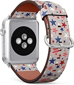 Compatible with Apple Watch Series 6/5/4/3/2/1 (Big Version 42/44 mm) Leather Wristband Bracelet Replacement Accessory Band + Adapters - 4Th July American