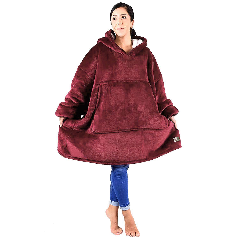 Blanket Sweatshirt, Reversible Sherpa Oversized Giant Hoodie Cozy Warm Comfortable Sweatshirt with Pocket for Women & Children Wine Red by Tirrinia
