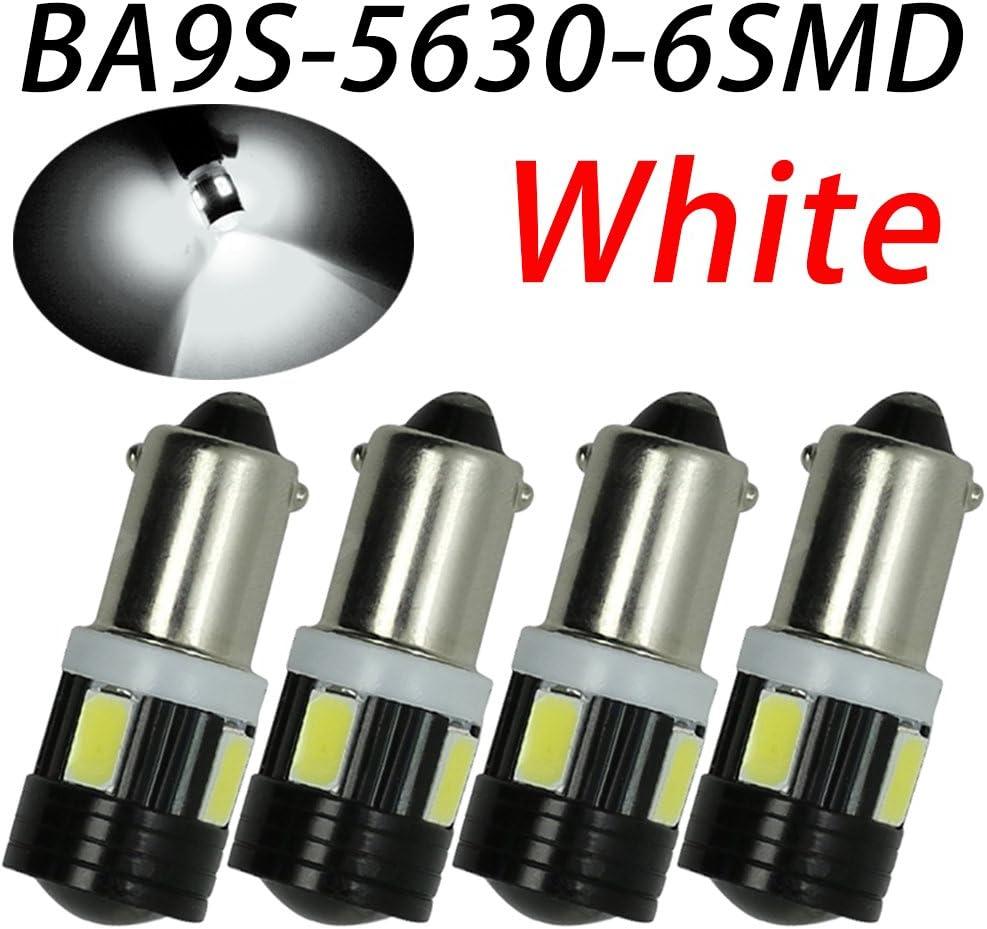 TABEN 4pcs T4W BA9S Bombilla LED Proyector de aluminio Lente Interior del coche Puerta lateral Luz de cortesía 6 smd 5630 Led Lámpara de estacionamiento Blanco 12V