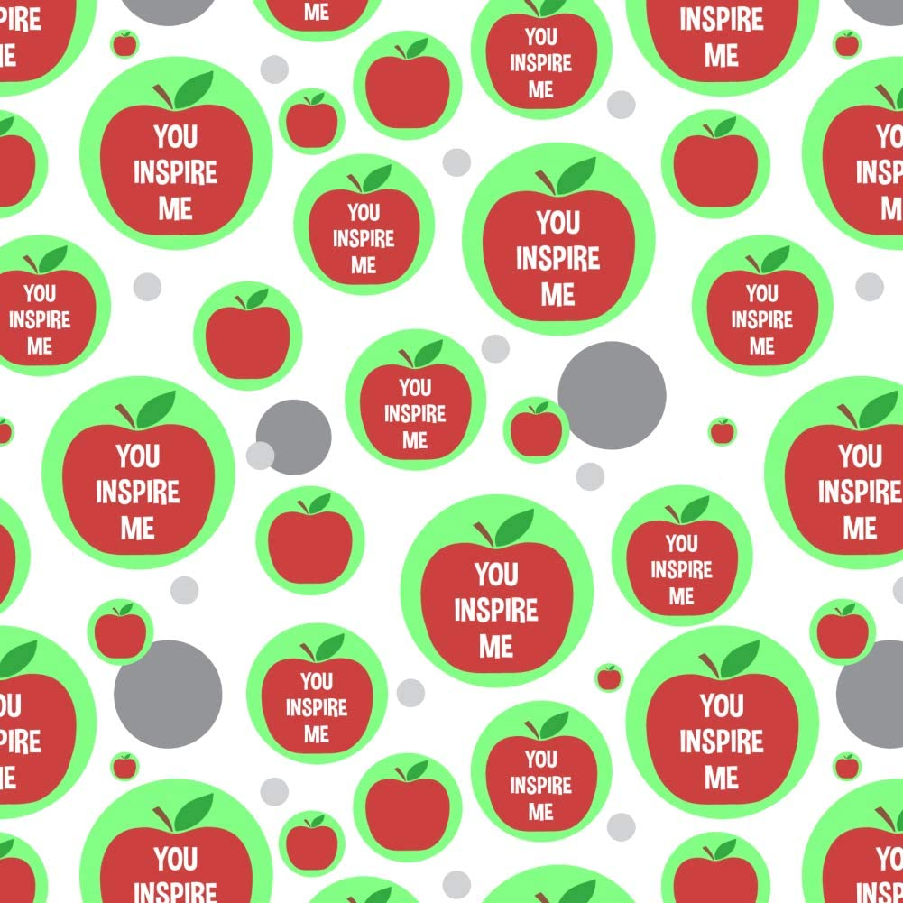 GRAPHICS & MORE You Inspire Me Teacher Apple Premium Gift Wrap Wrapping Paper Roll