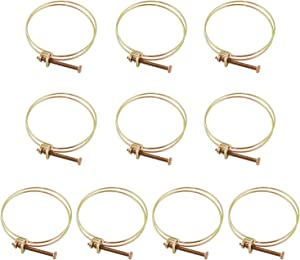 "QWORK 10 Pack Double Wire Hose Clamp, 4"" Adjustable Steel Wire Tube Pipe Clip with Screw"