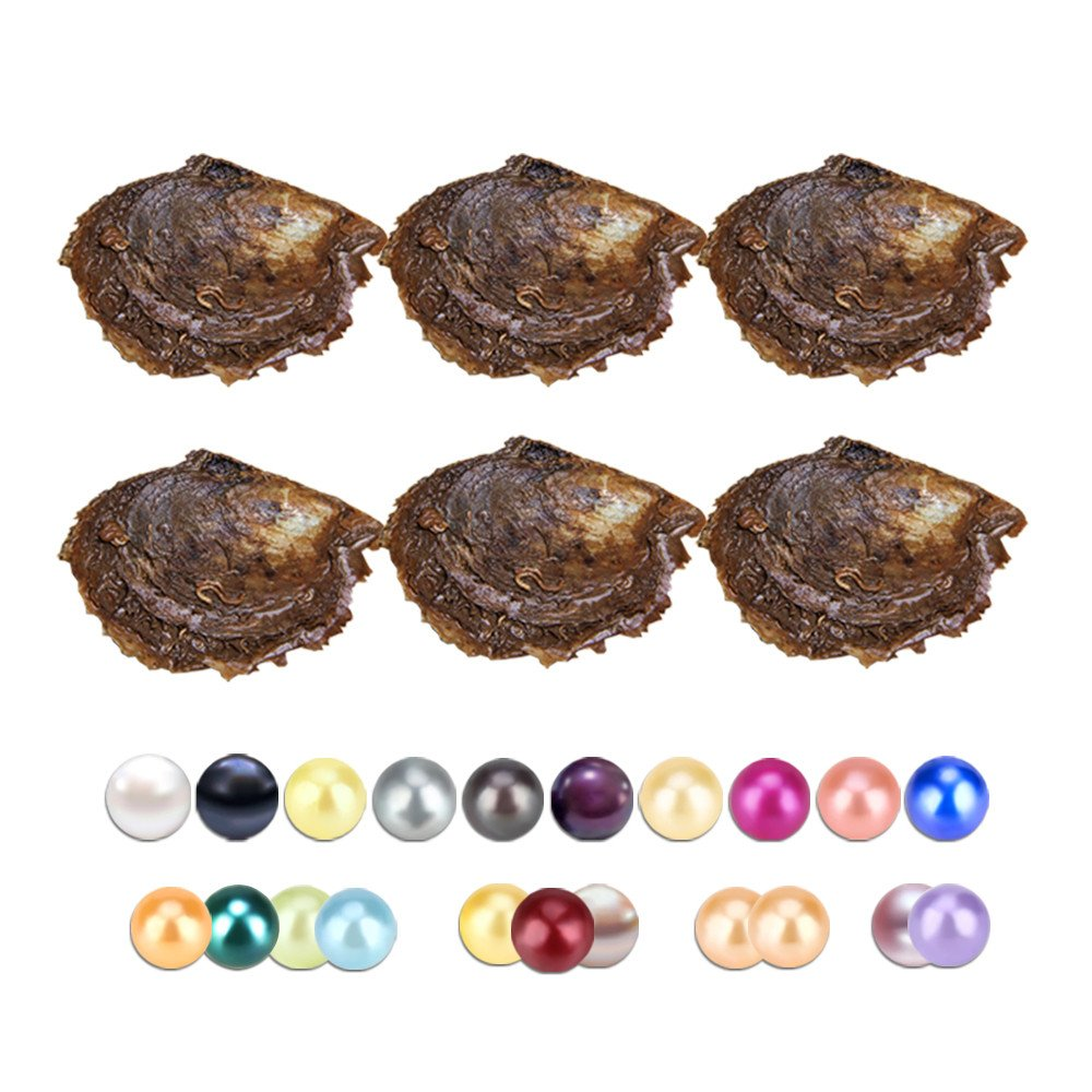 90PCS of Mix 20 Colors Single and Twins Individual Package 6-8mm Saltwater Round Akoya Pearl in Oyster by NY Jewelry