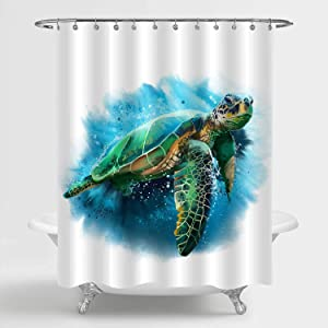 "MitoVilla Sea Turtle Shower Curtain, Vivid Cute Ocean Animal Turtle Art Decor for Tropical Wildlife Themed Bathroom, Marine Life Home Decor for Baby, Kids and Animal Lovers Gifts, Green, 72"" W x 72"" L"