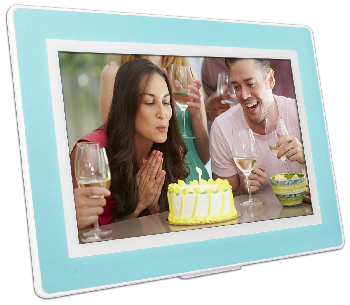 HD IPS Display Battery 64GB Touch-Screen 10-inch WiFi Cloud Digital Picture Frame PhotoSpring White//Black Mat - 65,000 Photos iPhone /& Android app Plays Video and Photo Slideshows