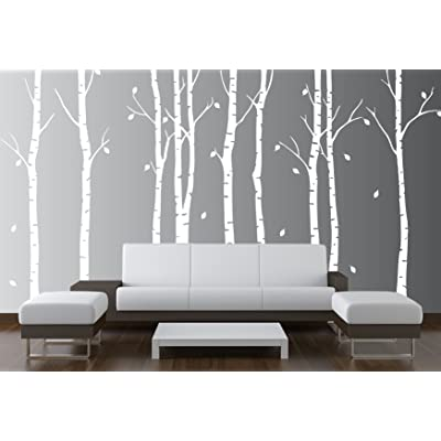"Birch Tree Wall Decal Nursery Forest Vinyl Sticker Removable Animals Branches Art Stencil Leaves (9 Trees) #1263 (Matte White, 96"" (8ft) Tall): Home & Kitchen"
