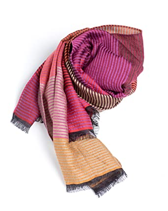 Luxury French Scarf - Striped Pink Orange Yellow Merino Wool 8bb19ad759cc5