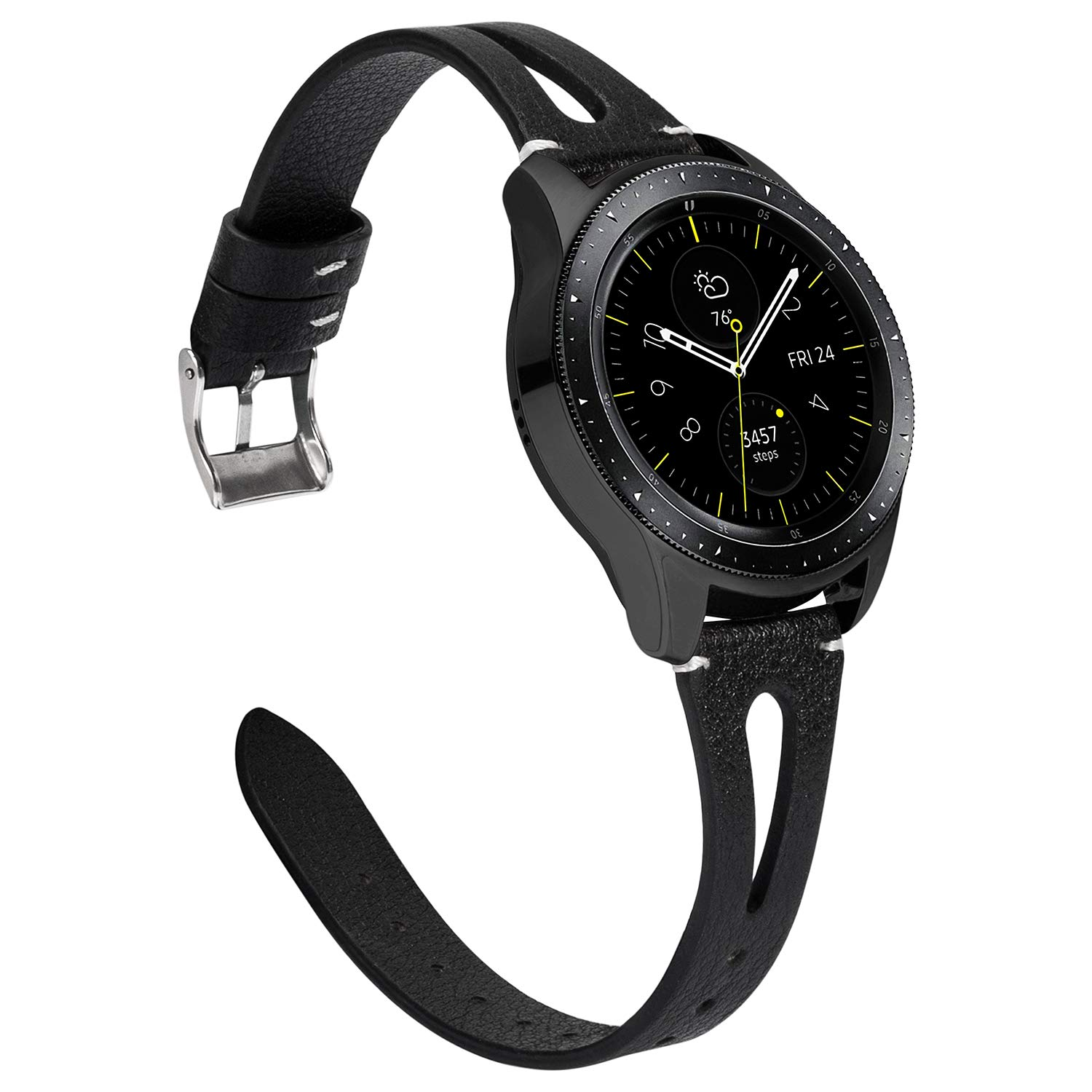 TOYOUTHS Leather Bands Compatible with Samsung Galaxy Watch 42mm/Galaxy Active 2 40mm 44mm Strap Women Men Genuine Leather Wristband Replacement for ...