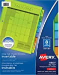"""Avery Big Tab Insertable Plastic Dividers for Laser and Inkjet Printers, 9-1/4"""" x 11-1/8"""", 8 tabs, Multi-Colour, 1 Set,"""