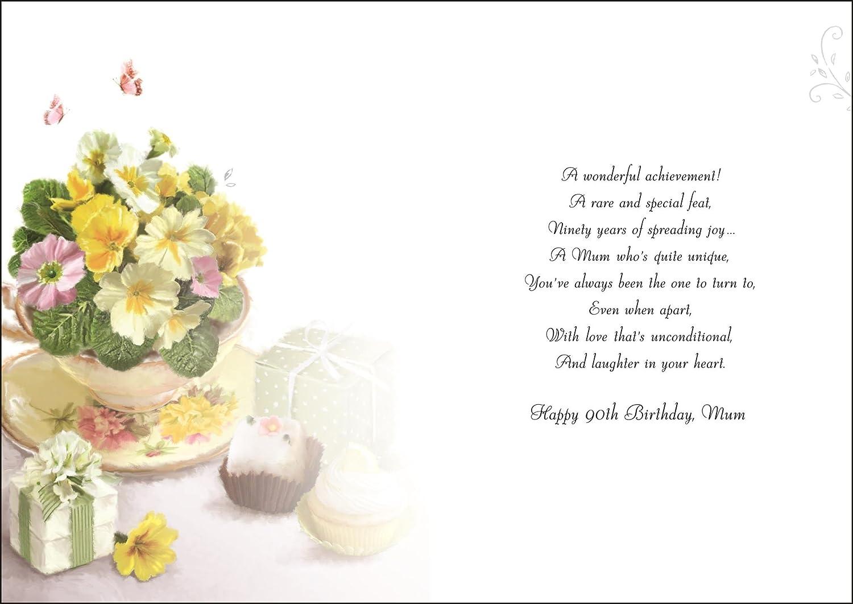 To A Wonderful Mum Happy 90th Birthday Card Amazon Office