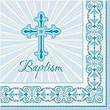Radiant Cross Blue Baptism Party Napkins, 16ct