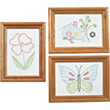 Jack Dempsey Stamped Embroidery Kit Beginner Samplers, 6 by 8-Inch 3-Pack-Outside Fun