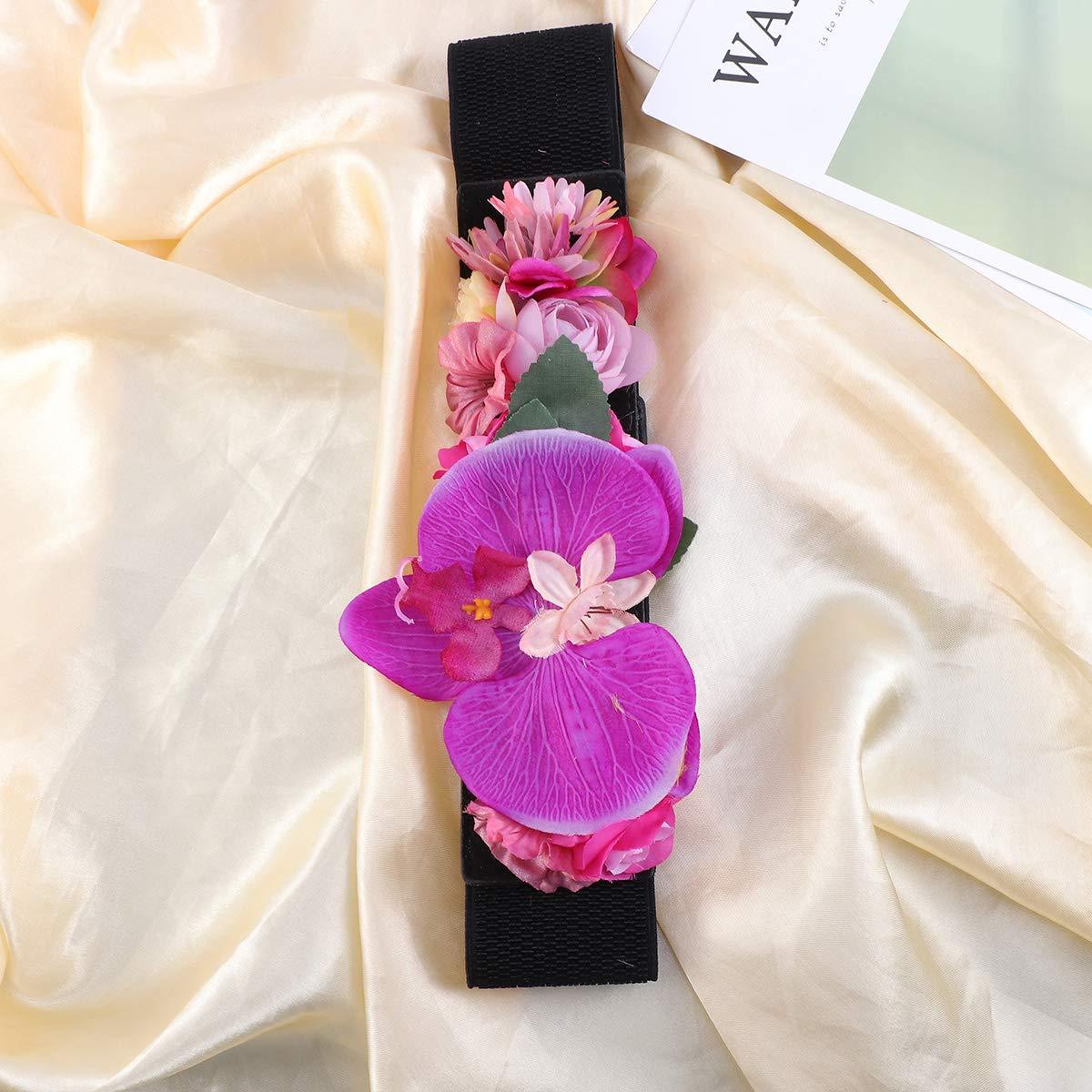 9aa08947 Negro Decoración de vidrio Cinturones de flores artificiales Moda ...