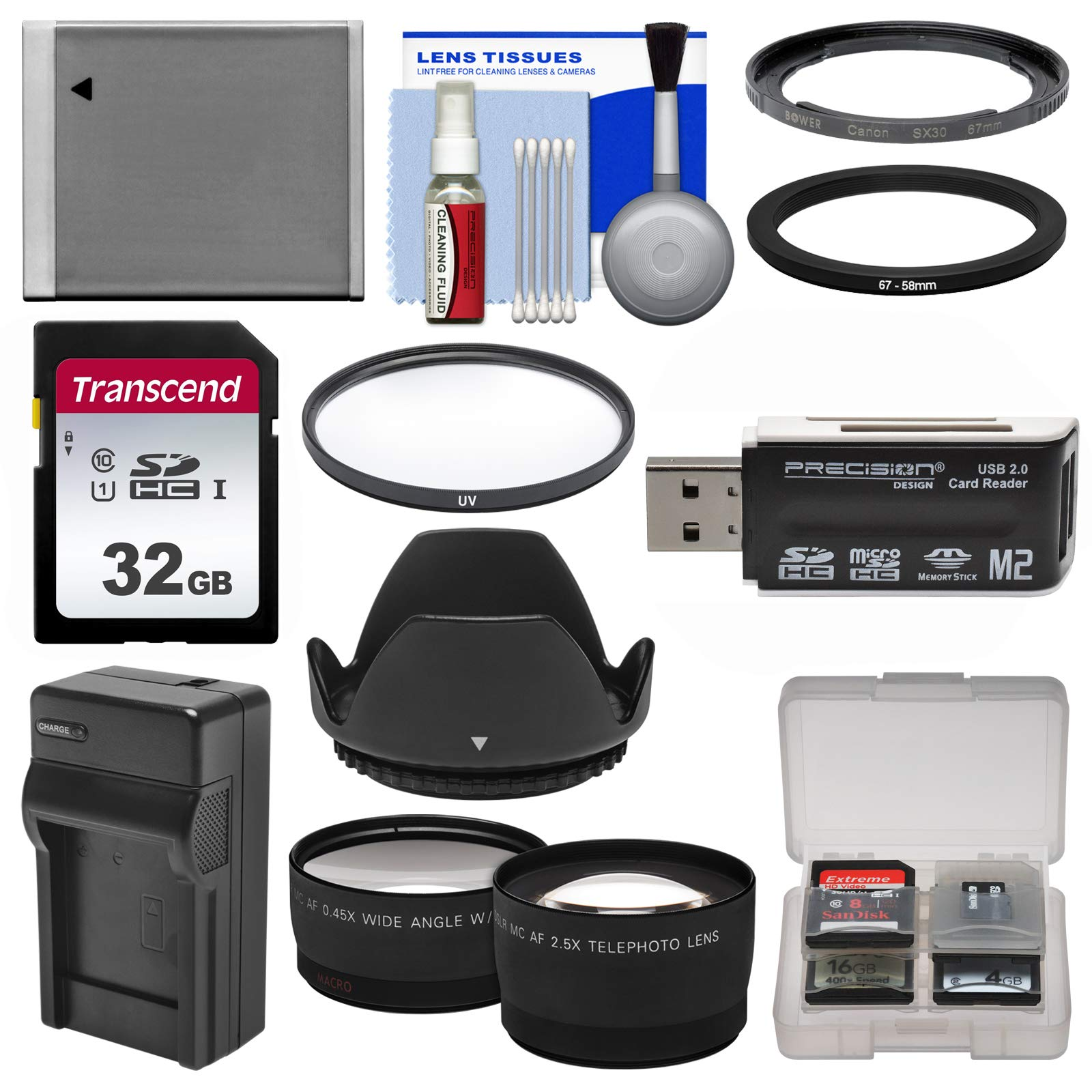 Essentials Bundle for Canon PowerShot SX520, SX530 & SX540 HS Camera with 32GB Card + NB-6L Battery & Charger + Tele Wide Lenses + Kit