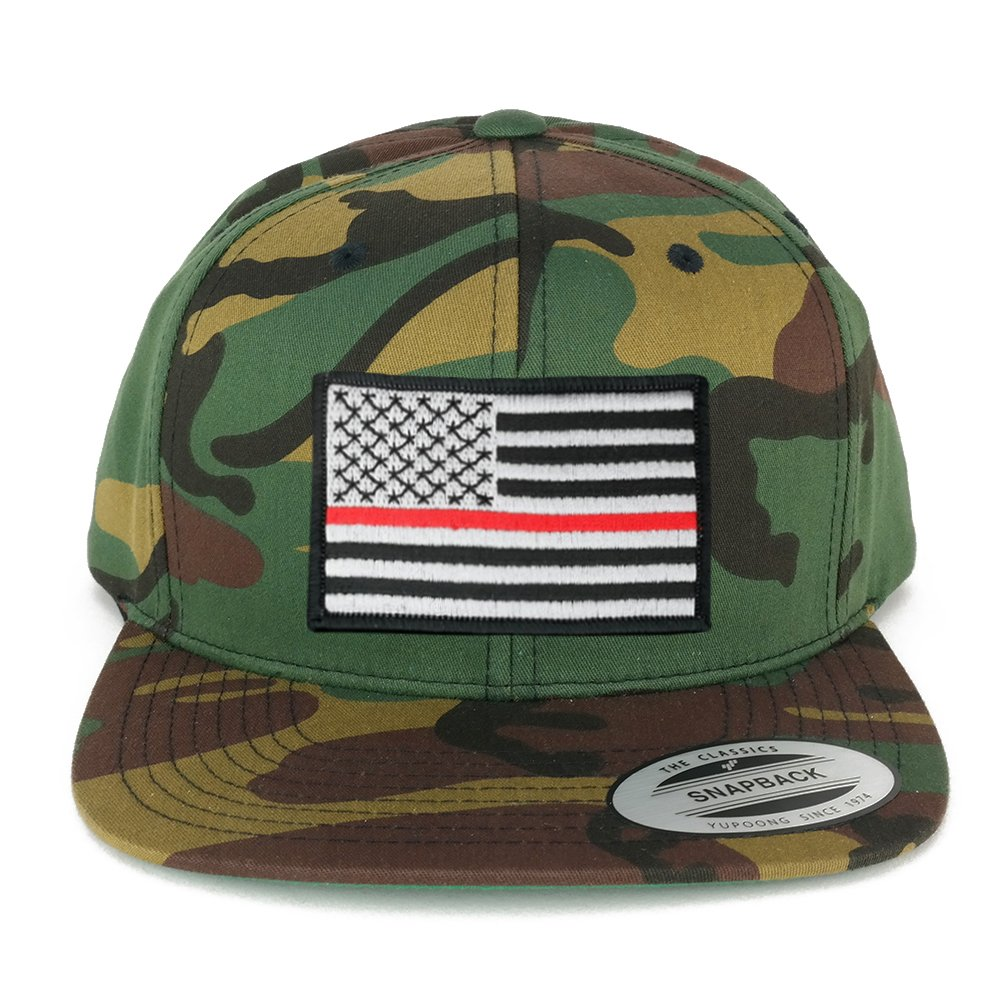 d291ad8ed8e Flexfit Patriotic American Flag Patch Flat Bill Snapback Cap - Camo (One  Size