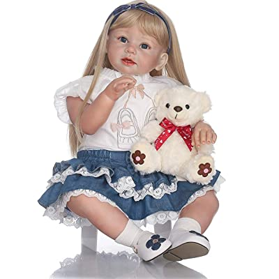 MeTikTok Simulation Little Girl Doll Reborn Toddler, Girls Birthday Gift Look Real Children's Clothing Model Cute Prop Silicone Realistic Soft Vinyl Toddler Toy: Home & Kitchen