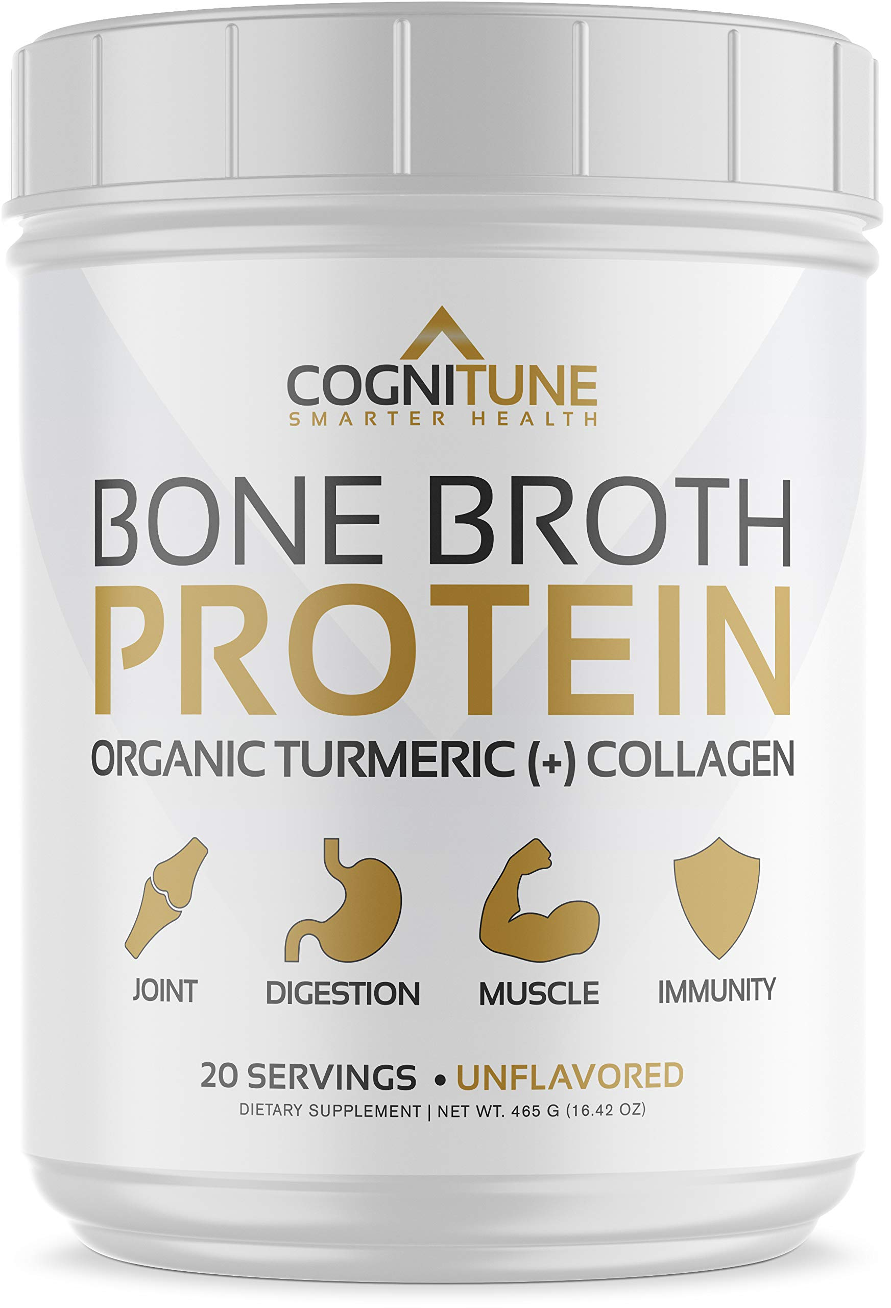 Bone Broth Protein Powder - Organic Turmeric & Collagen Peptides Unflavored - Premium Natural Grass Fed, Keto & Paleo Friendly Nutrition, Non-GMO, Gluten Free - Supports Joints & Gut Health - 16.42oz by CogniTune