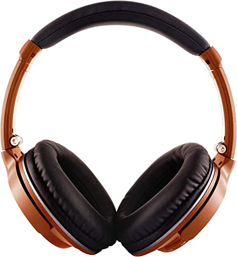YHhao Computer Headsets, Foldable On-Ear Headphones, Wired or Wireless Headsets with Mic and Detachable Cord for iPhone,Android Smartphones, PC, Computer, Laptop,Tablet- Black Orange