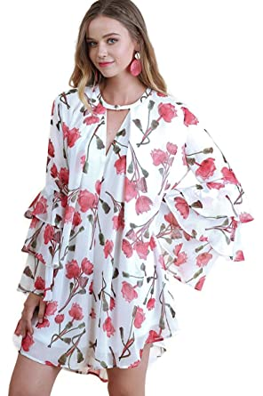 5dede6f56c0 Umgee Women s Ruffle Sleeve Floral Keyhole Dress Reg   Plus Size (Medium