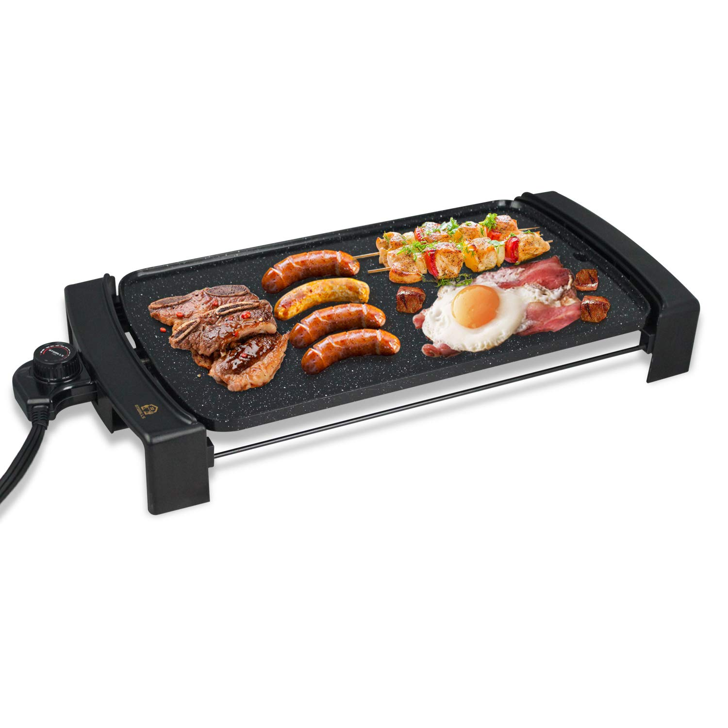 Electric Griddle Non-Stick, Smokeless Indoor & Outdoor Portable Pancake Griddle w/Drip Tray & Cool-touch Handles & Temperature Control, 10''x21'' Family-Sized -Black