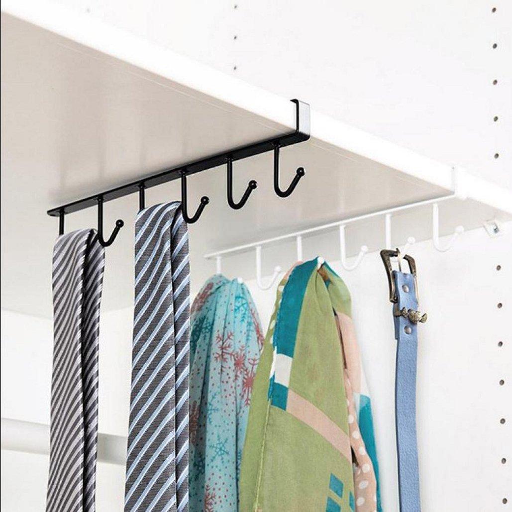 26x6.5x2.2CM Kitchen Storage Rack, Cupboard Hanging Hook Hanger Chest Storage Organizer Holder,Tuscom (Black)