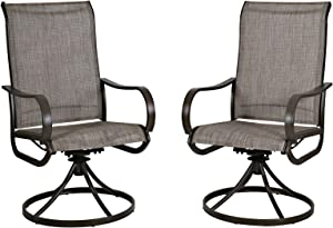Welnow 2 Piece Gray Patio Swivel Dining Chairs Outdoor Kitchen Garden Metal Chairs, Patio Furniture Gentle Rocker Chair with Textilene Mesh Fabric, Gray, Set of 2