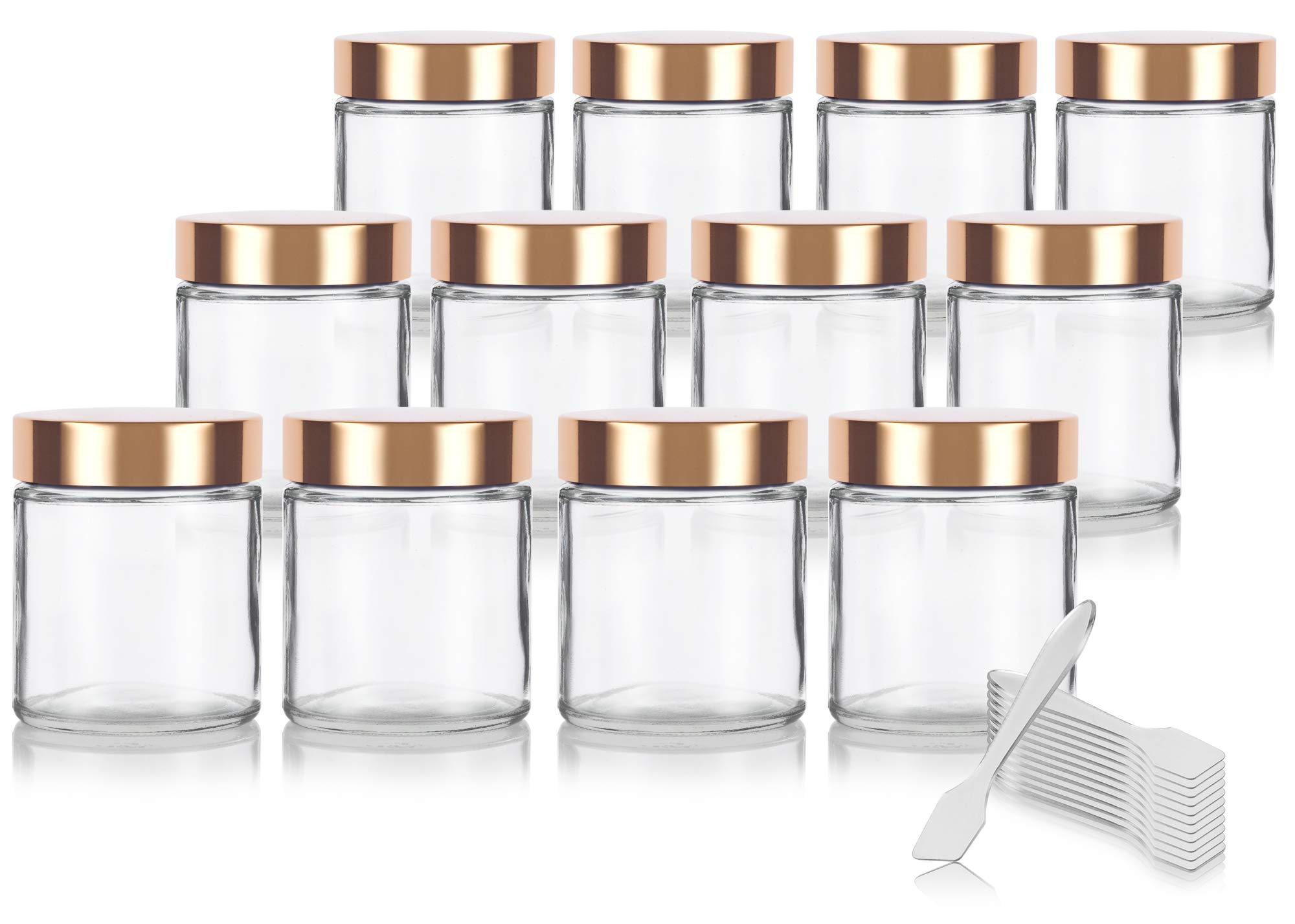 Clear Thick Glass Straight Sided Jar with Gold Metal Overshell Lid - 4 oz / 120 ml (12 pack) + Spatulas