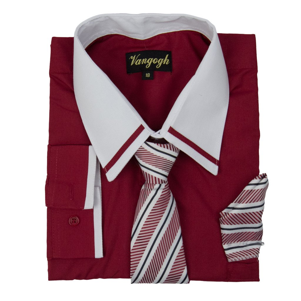 Vangogh Boys Long Sleeve Dress Shirt Striped Contrast Collar & Cuffs
