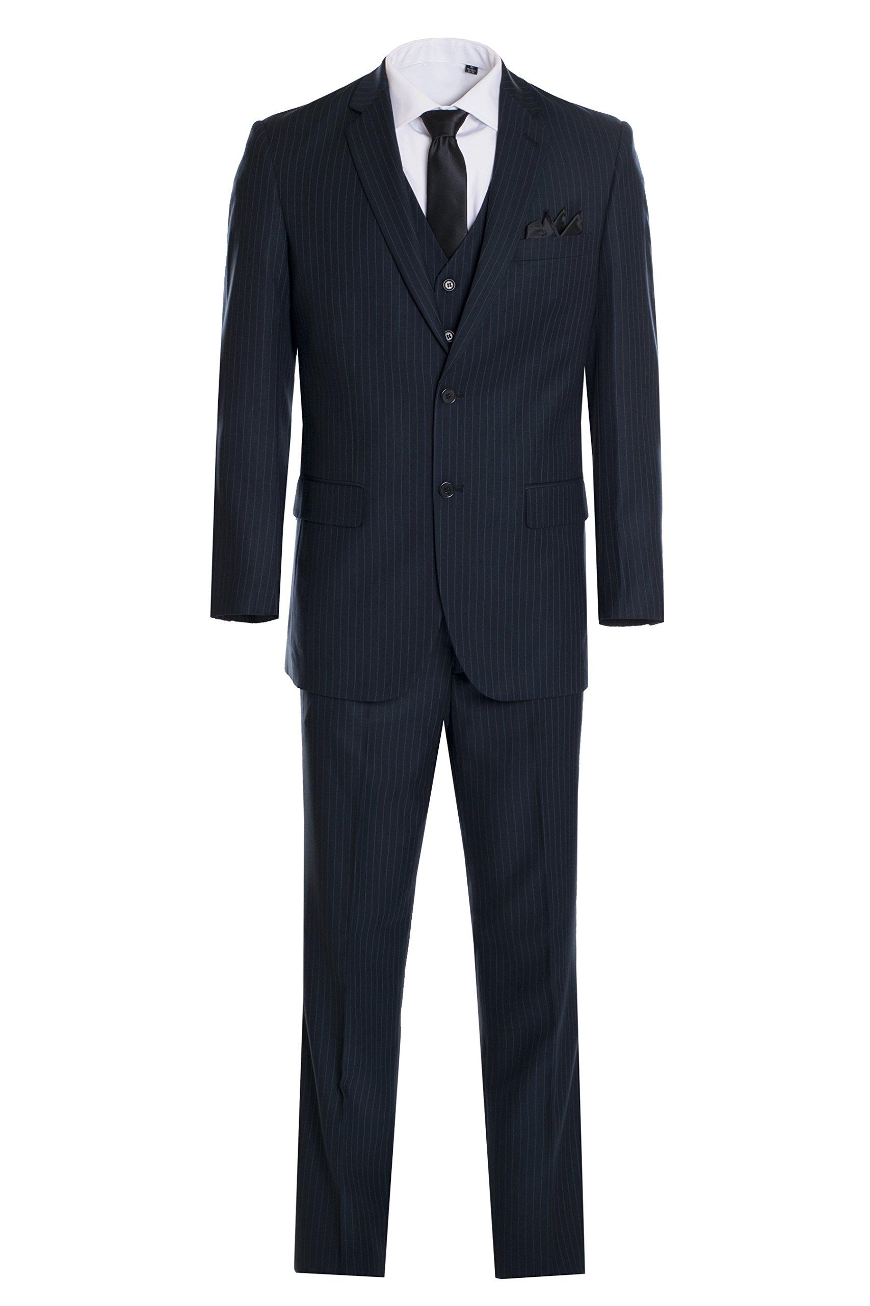 King Formal Wear Men's Premium Modern Fit Pinstripe Suit - Many Colors (Navy Pinstripe, 46 Regular)…